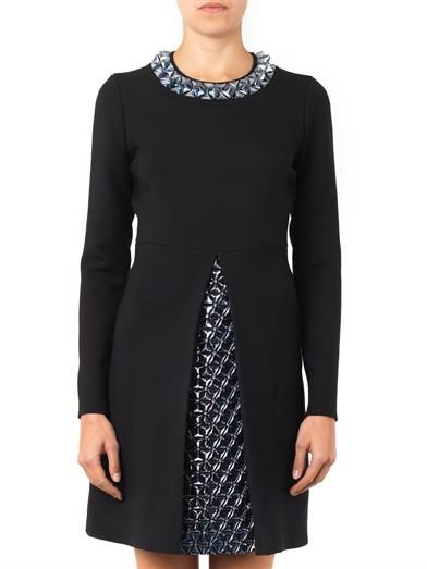 Gucci 3D embellished wool and silk-crepe dress
