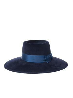 Felted velour wide-brimmed hat