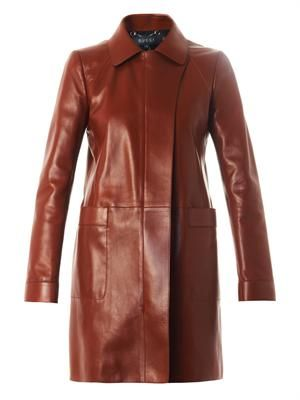 Point-collar long leather coat