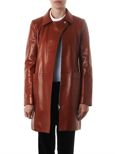 Gucci Point-collar long leather coat