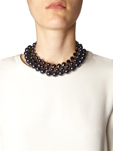 Gucci Crystal and faux-pearl tiered necklace