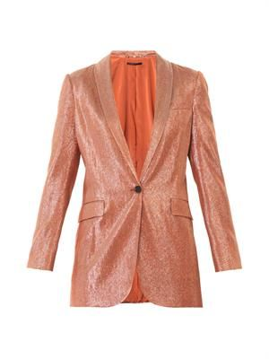 Liquid lamé tailored jacket