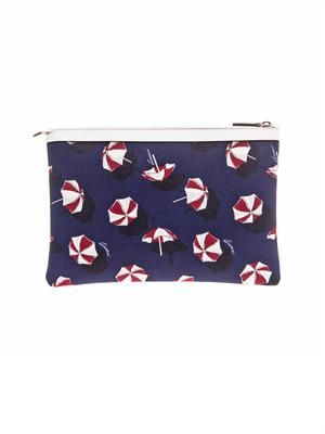 Umbrella-print canvas pouch