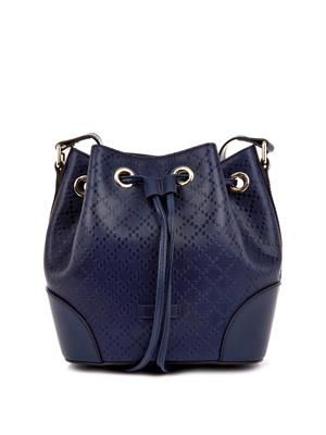 Diamante-effect leather bucket bag