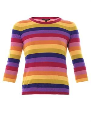 Multicoloured stripe cashmere sweater