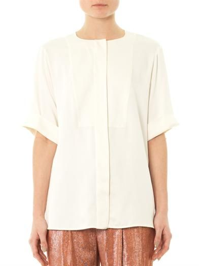 Gucci Washed-silk collarless shirt