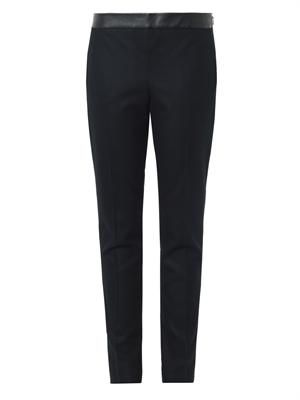 Wool-blend and leather trousers