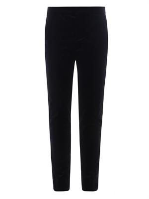 Slim tapered-leg navy velvet trousers