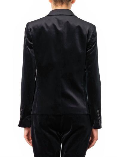 Gucci Slim tapered-leg navy velvet trousers