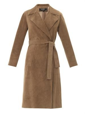 Suede wrap-around trench coat