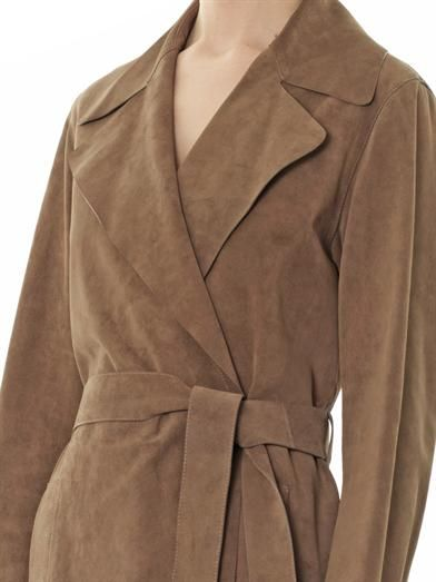 Gucci Suede wrap-around trench coat