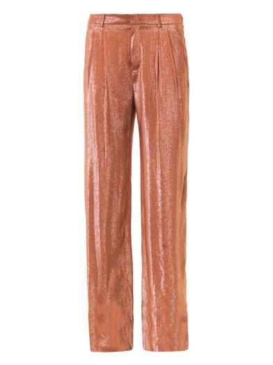 Gucci Liquid lamé pleat-front trousers