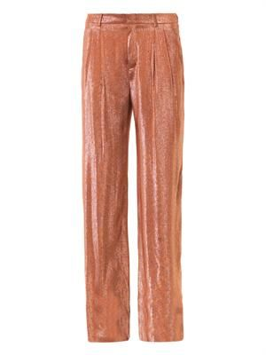 Liquid lamé pleat-front trousers