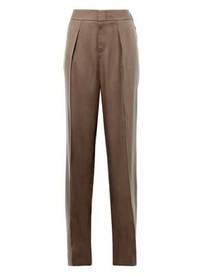 Wide-leg silk-twill trousers