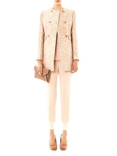 Stella McCartney Edwige snake-jacquard coat