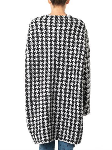 Stella McCartney Dog's-tooth fringed blanket-coat