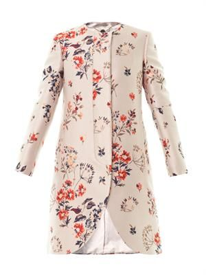 The Lea wild flower-jacquard coat