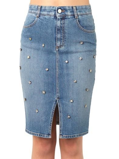 Stella McCartney Embellished denim skirt
