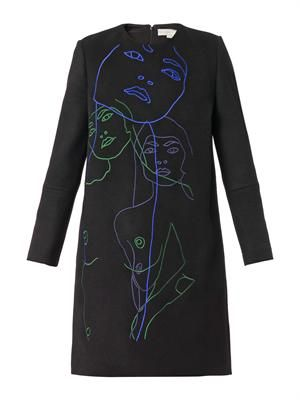 Ivette embroidered melton-wool dress