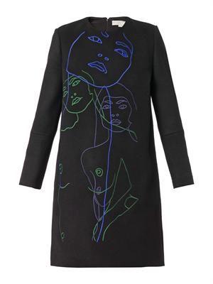 Ivette embroidered melton-wool dress