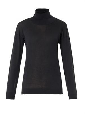 Roll-neck wool and silk-blend sweater