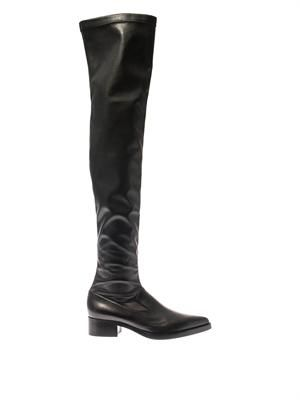Abbey faux-leather thigh-high boots
