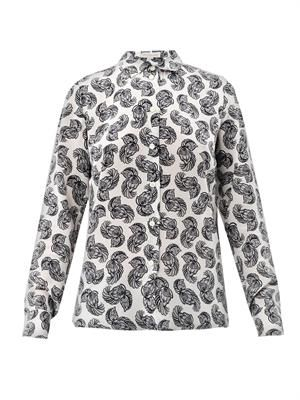Wilson floral feather-print blouse