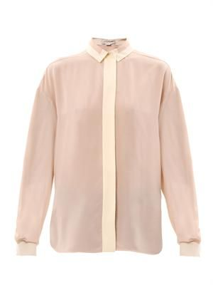 Bi-colour silk blouse