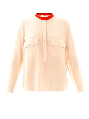 Estelle silk chest pocket blouse