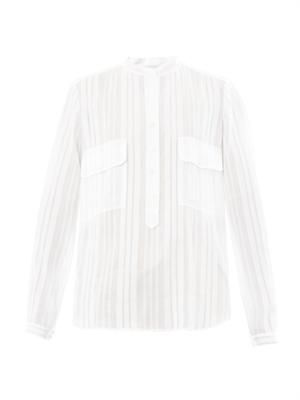 Striped cotton and silk-blend blouse