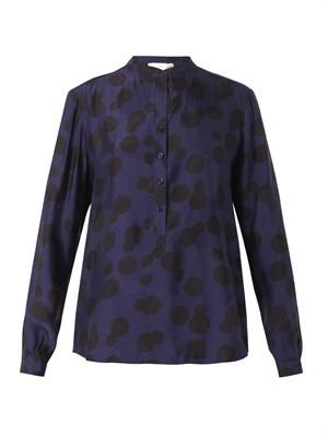 Eva polka-dot-jacquard blouse