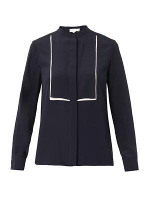 Caroline bi-colour silk blouse