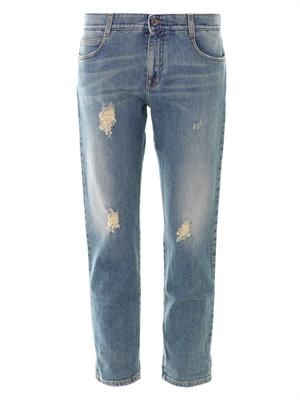 Tomboy distressed low-slung boyfriend j