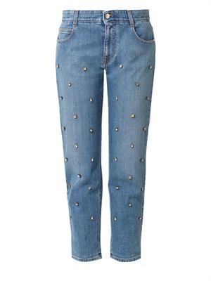 Crystal-embellished boyfriend jeans