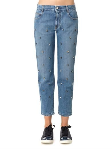 Stella McCartney Crystal-embellished boyfriend jeans