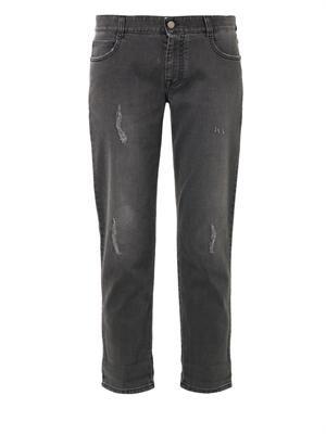 Distressed low-slung boyfriend jeans
