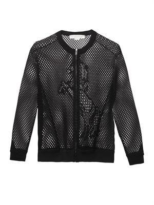 Embroidered-mesh bomber jacket