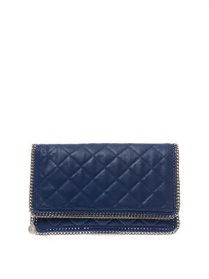 Falabella quilted faux-suede clutch