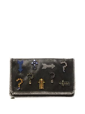 Falabella embellished faux-suede clutch