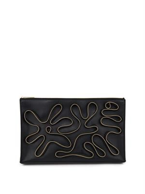 Cavendish zip-detail faux-leather clutch