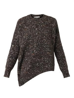 Asymmetric wool-blend sweater
