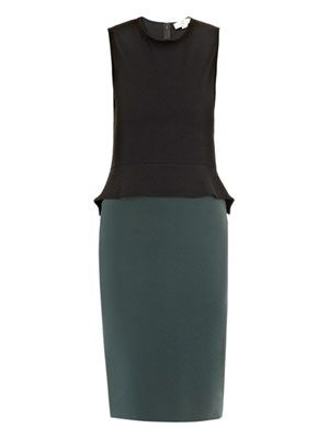 Peplum detail contrast dress