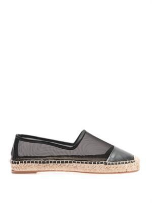 Faux-leather and mesh espadrilles