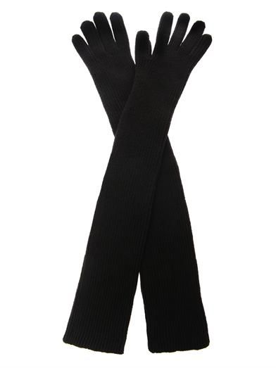 Stella McCartney Long ribbed-knit wool gloves