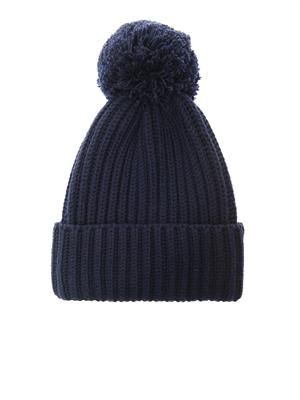 Pompom ribbed-knit wool beanie