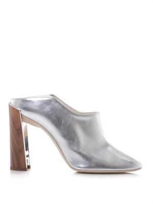 Fold heel metallic faux-leather mules