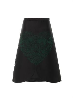 Embroidered-heart A-line skirt