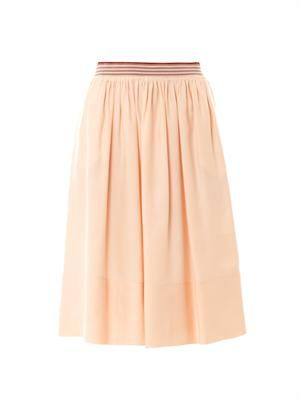 Lucy washed silk-blend midi skirt