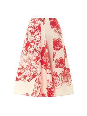 Fiona floral-print silk skirt