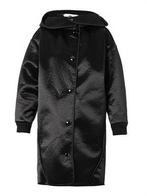Clara faux-shearling lined satin coat